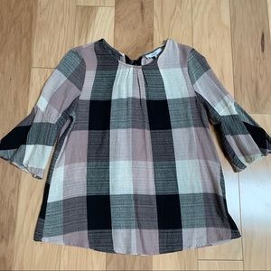 Ro&De Pink Plaid Bell Sleeve Top